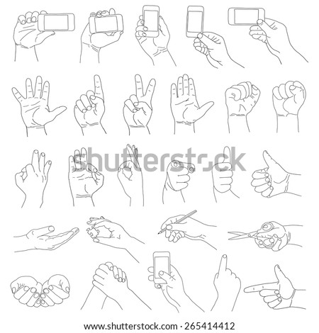 hand on white background - stock vector