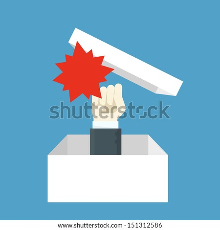 hand opening box - stock vector