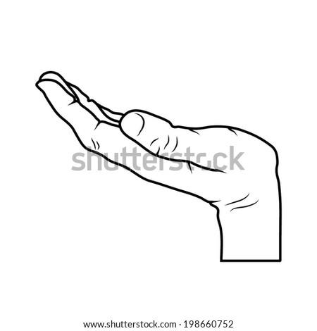 HAND outline vector - stock vector