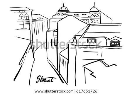 Hand paint vector old European buildings.