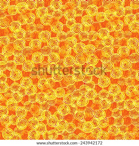 Hand paint watercolor vector background. Bright spirals of yellow and orange colors. Texture for invitations, cards, web sites, design.