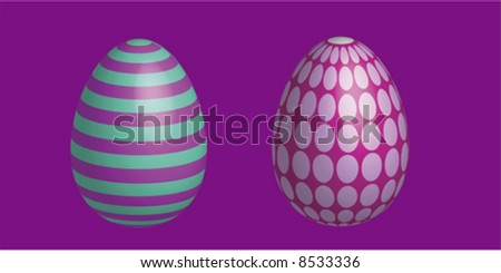 hand painted easter eggs in several colors and designs - stock vector