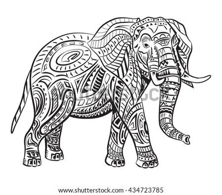 Handpainted Elephant Ornament Tattoo Elephant Patterns Stock Photo ...