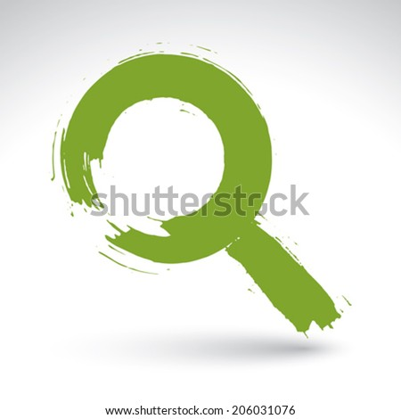 Hand-painted green magnifying glass icon isolated on white background, simple symbol created with real ink hand drawn brush, scanned and vectorized. - stock vector