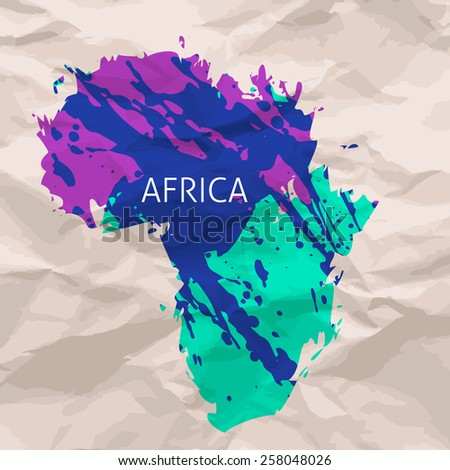 Hand painted ink watercolor grunge Africa map silhouette - stock vector