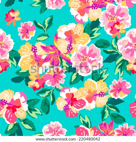 Hand painted tropical flowers, seamless background - stock vector