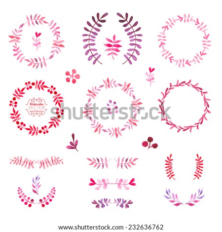 Hand-painted watercolor design elements. Floral motifs. Watercolor vintage floral trendy set of wreaths and laurels. Pink frame set. - stock vector