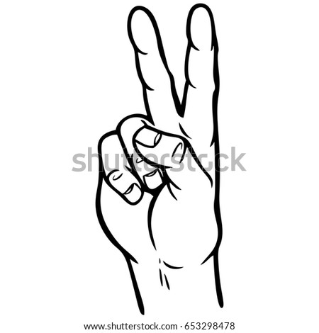 Hand Peace Sign Illustration Stock Vector 2018 653298478