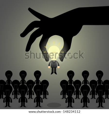 Hand pick idea Business man from a group of people, Human Resources concept to choose perfect candidate. - stock vector