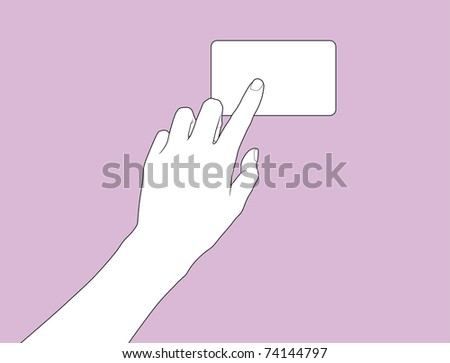 hand point to the business card - stock vector