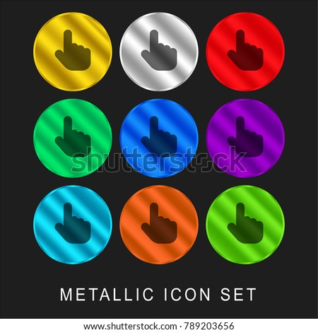 Hand Pointer 9 color metallic chromium icon or logo set including gold and silver