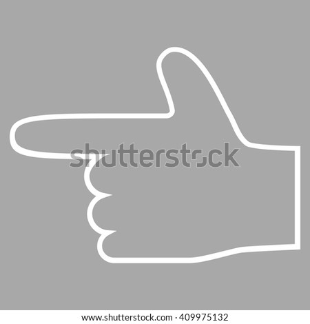 Hand Pointer Left vector icon. Style is contour icon symbol, white color, silver background. - stock vector