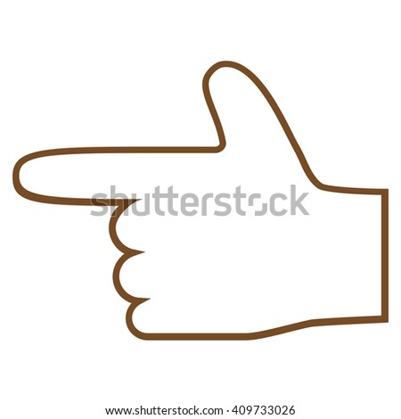 Hand Pointer Left vector icon. Style is stroke icon symbol, brown color, white background. - stock vector