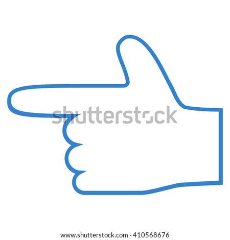 Hand Pointer Left vector icon. Style is stroke icon symbol, cobalt color, white background. - stock vector