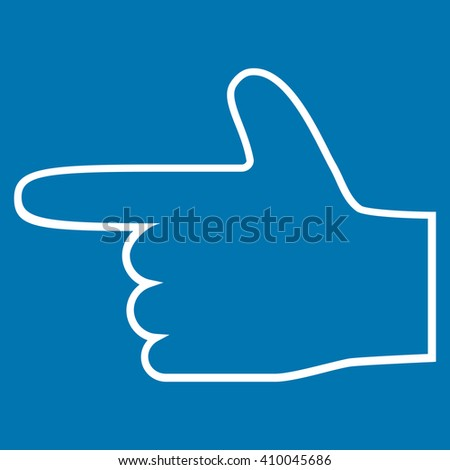 Hand Pointer Left vector icon. Style is thin line icon symbol, white color, blue background. - stock vector