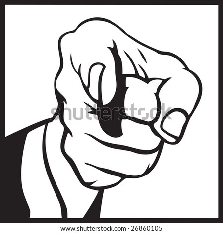 Hand pointing 1 - stock vector