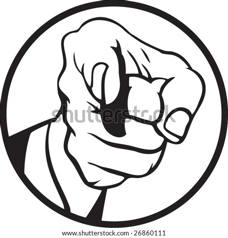 Hand pointing 3 - stock vector