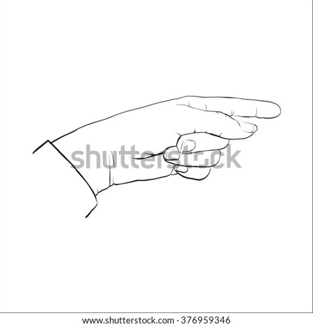 hand pointing finger forward vector isolated