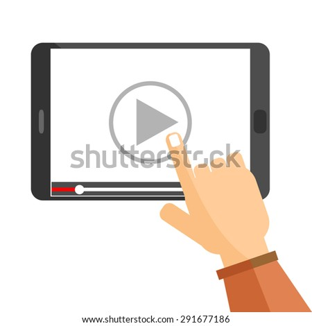 hand pointing to play button on a tablet computer to watch video tutorial on line - stock vector