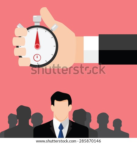 Hand points at  stopwatch timer - stock vector