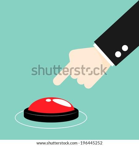 Hand press the button, start concept - stock vector