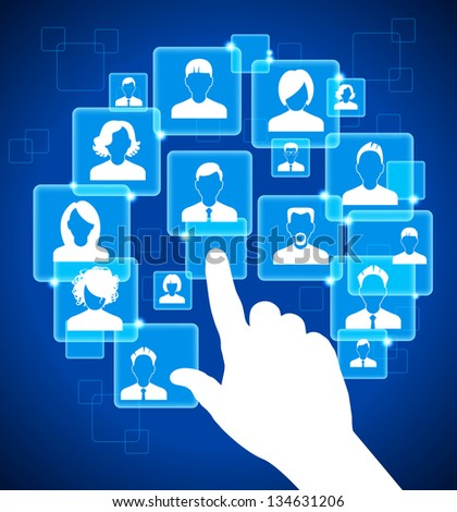Hand Presses The Button On The Touch Screen. social media, communication in the global computer networks. File is saved in AI10 EPS version. This illustration contains a transparency - stock vector