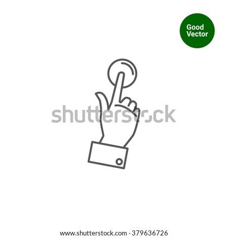 Hand pressing button - stock vector