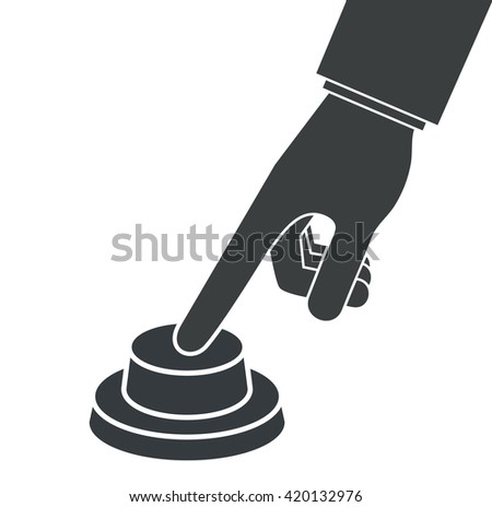 Hand pressing or pushing the button. Side view - stock vector