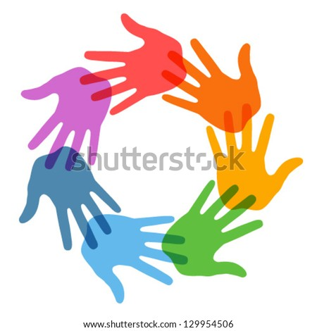 Hand Print icon 7 colors, vector illustration - stock vector