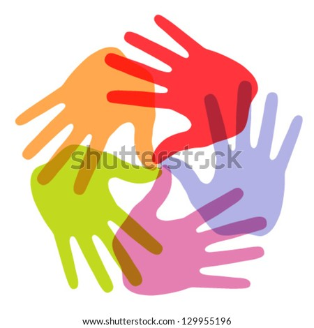 Hand Print icon 5 colors, vector illustration - stock vector