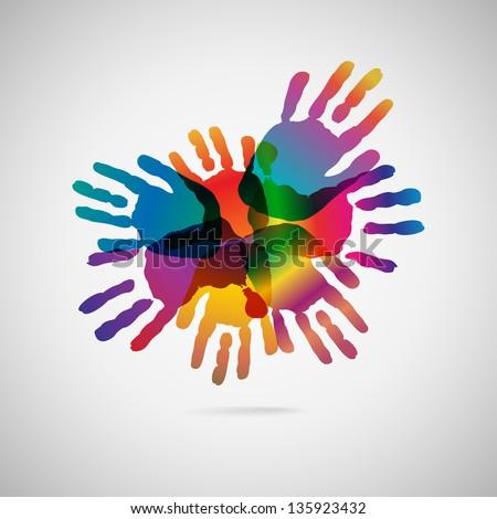 Hand Print icon, vector illustration - stock vector