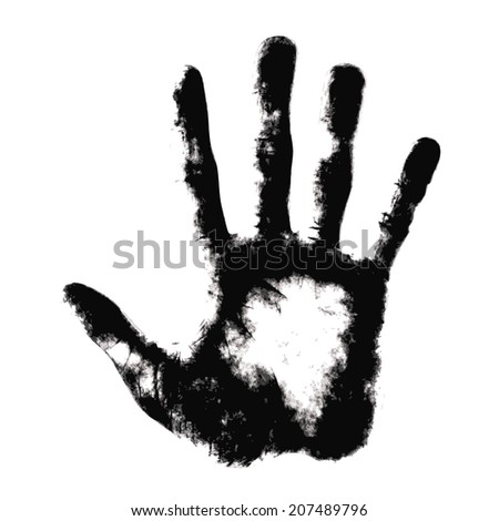 Hand print on white background - stock vector