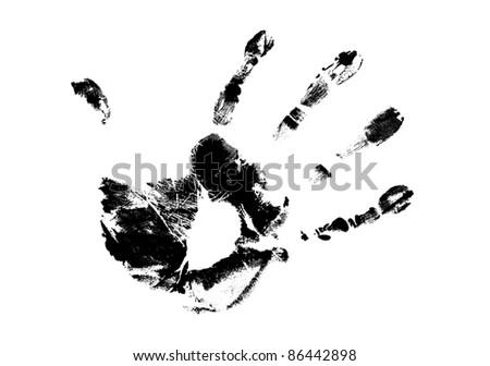 hand print on white background, vector illustration - stock vector