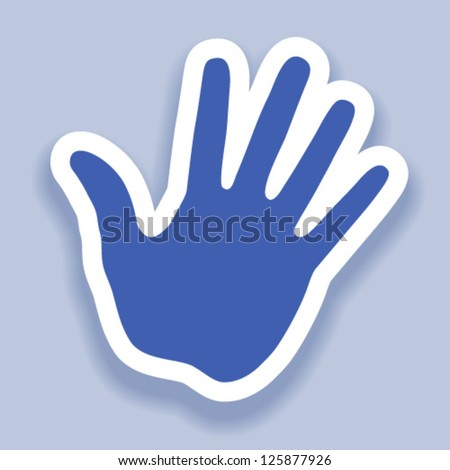 Hand print paper effect, web icon - stock vector