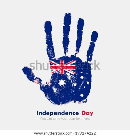 Hand print, which bears the flag. Independence Day. Grungy style. Grungy hand print with the flag. Hand print and five fingers. Used as an icon, card, greeting, printed materials. Australian flag