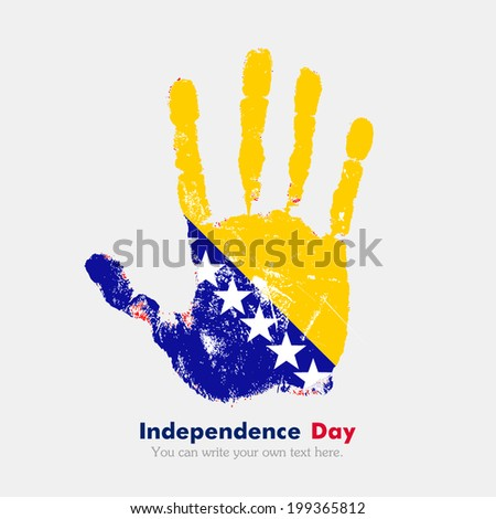 Hand print, which bears the flag. Independence Day. Grungy style. Grungy hand print with the flag. Hand print and five fingers. Used as an icon, card, greeting, printed. Flag of Bosnia and Herzegovina