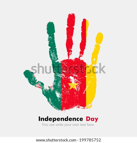 Hand print, which bears the flag. Independence Day. Grungy style. Grungy hand print with the flag. Hand print and five fingers. Used as an icon, card, greeting, printed materials. Flag of Cameroon