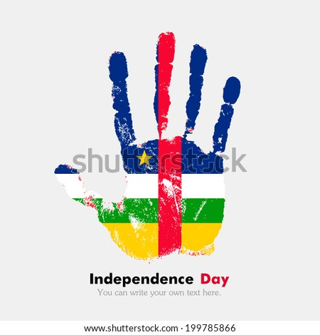 Hand print, which bears the flag. Independence Day. Grungy style. Grungy hand print with the flag. Hand print and five fingers. Used as icon, card, greeting, printed. Flag of Central African Republic