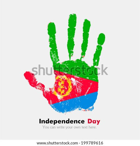 Hand print, which bears the flag. Independence Day. Grungy style. Grungy hand print with the flag. Hand print and five fingers. Used as an icon, card, greeting, printed materials. Flag of Eritrea