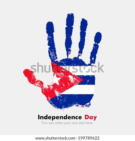 Hand print, which bears the flag. Independence Day. Grungy style. Grungy hand print with the flag. Hand print and five fingers. Used as an icon, card, greeting, printed materials. Flag of Cuba - stock vector