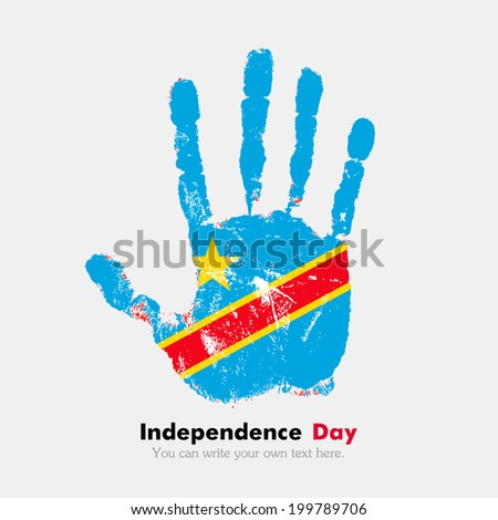 Hand print, which bears the flag. Independence Day. Grungy style. Grungy hand print with the flag. Hand print and fingers. Used as icon, card, greeting, printed. Flag of Democratic Republic of Congo