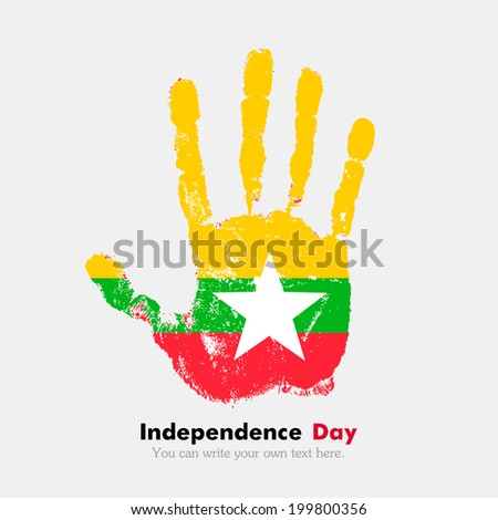 Hand print, which bears the flag. Independence Day. Grungy style. Grungy hand print with the flag. Hand print and five fingers. Used as an icon, card, greeting, printed materials. Flag of Myanmar
