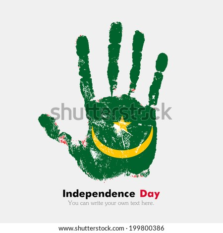 Hand print, which bears the flag. Independence Day. Grungy style. Grungy hand print with the flag. Hand print and five fingers. Used as an icon, card, greeting, printed materials. Flag of Mauritania