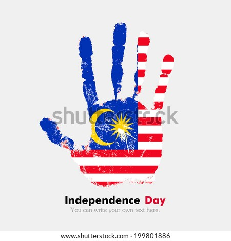 Hand print, which bears the flag. Independence Day. Grungy style. Grungy hand print with the flag. Hand print and five fingers. Used as an icon, card, greeting, printed materials. Flag of Malaysia