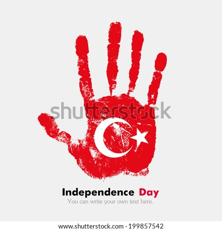 Hand print, which bears the flag. Independence Day. Grungy style. Grungy hand print with the flag. Hand print and five fingers. Used as an icon, card, greeting, printed materials. Flag of Turkey - stock vector