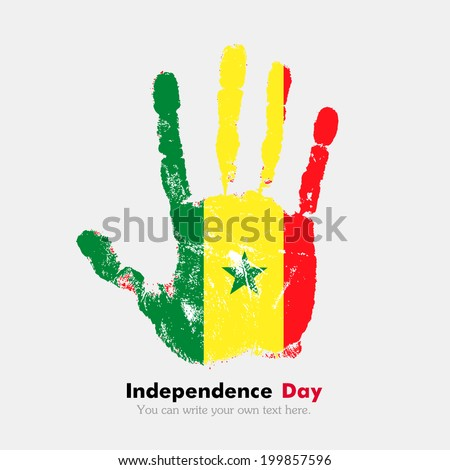 Hand print, which bears the flag. Independence Day. Grungy style. Grungy hand print with the flag. Hand print and five fingers. Used as an icon, card, greeting, printed materials. Flag of Senegal