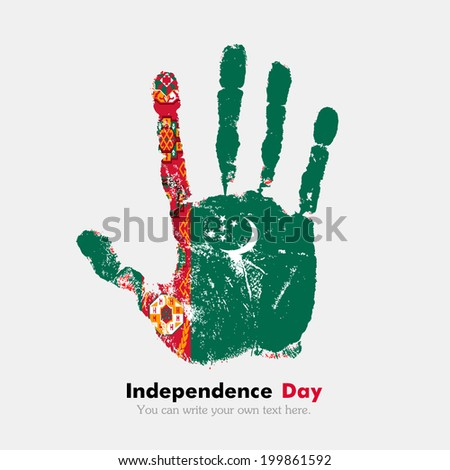 Hand print, which bears the flag. Independence Day. Grungy style. Grungy hand print with the flag. Hand print and five fingers. Used as an icon, card, greeting, printed materials. Flag of Turkmenistan