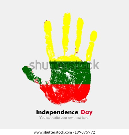 Hand print, which bears the flag. Independence Day. Grungy style. Grungy hand print with the flag. Hand print and five fingers. Used as an icon, card, greeting, printed materials. Lithuanian flag