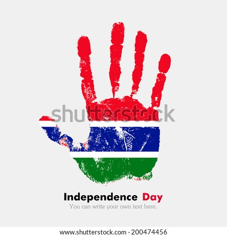 Hand print, which bears the flag. Independence Day. Grungy style. Grungy hand print with the flag. Hand print and five fingers. Used as an icon, card, greeting, printed materials. Flag of Gambia