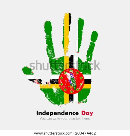 Hand print, which bears the flag. Independence Day. Grungy style. Grungy hand print with the flag. Hand print and five fingers. Used as an icon, card, greeting, printed materials. Flag of Dominica